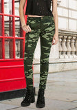 Camouflage Plain Pockets High Waisted Casual Cotton Long Pants
