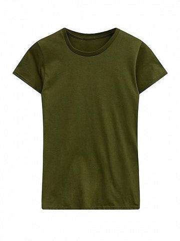 Army Green Round Neck Short Sleeve Basic T-shirt