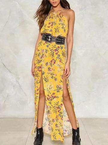 Yellow Floral Spaghetti Strap Side Split Maxi Dress
