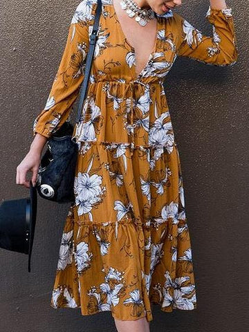 Yellow V Neck Floral Print Frill Trim Long Sleeve Midi Dress