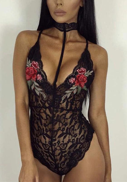Black Floral Hollow-out Lace Embroidery Condole Belt Short Jumpsuit