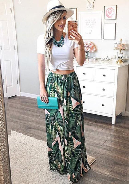 Green Floral Elastic Waist Mid-rise Casual Long Pants