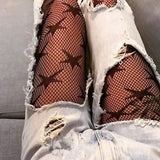 Black Galaxy Print Lace Fishnet Tights Legging