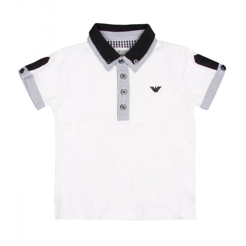 Armani Junior white short sleeved cotton polo shirt - Profile Fashion