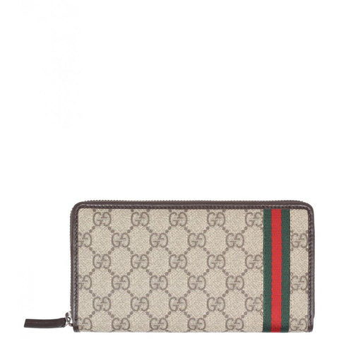 Beige & ebony GG supreme canvas zip around wallet - Profile Fashion