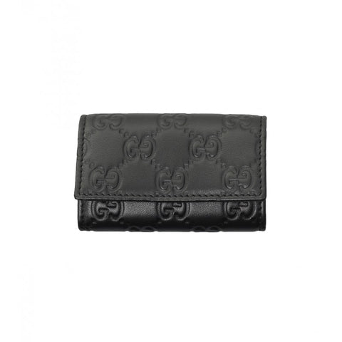 Black leather Guccissima key case