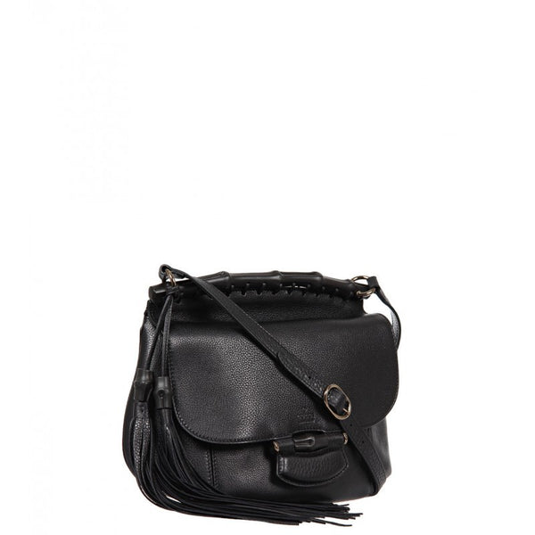 Black leather 'Nouveau' shoulder bag