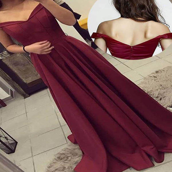 2019 A-line Sleeveless Satin Off-the-Shoulder Long Burgundy Prom Dresses, Party Evening Gowns . PDY0191