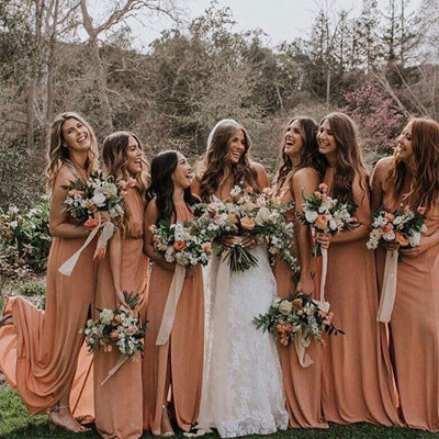 A-line Dusty Orange Chiffon Bridesmaid Dresses,Cheap Bridesmaid Dresses,WGY0379