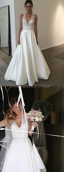 Elegant V-neck A-line White Lace Satin Wedding Party Dresses, Cheap Wedding Dresses,WDY0136