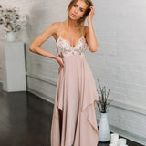 Spaghetti Straps V-neck Nude Pink Bridesmaid Dress,Cheap Bridesmaid Dresses,WGY0423