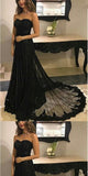 Sweetheart Black Lace A line Long Evening Prom Dresses,PDY0251