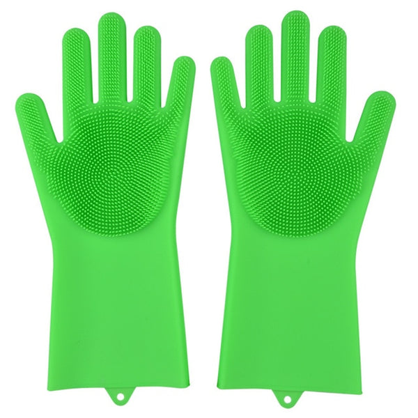 grass green color magic silicone gloves