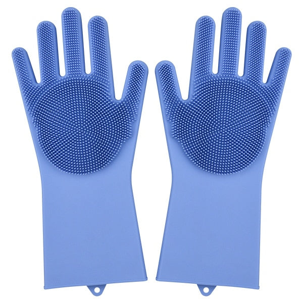 blue color magic silicone gloves