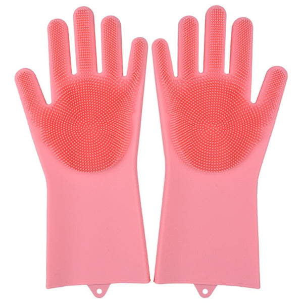 pink color magic silicone gloves