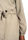 Waist view of belt of khaki Naturelle dress