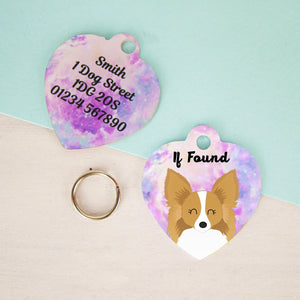 Papillon Personalised Dog Name ID Tag - HEART  - Hoobynoo - Personalised Pet Tags and Gifts