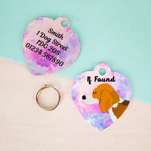 Beagle Universe Heart Dog Tag  - Hoobynoo - Personalised Pet Tags and Gifts