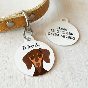 Dachshund Portrait Personalised name ID Tag - White  - Hoobynoo - Personalised Pet Tags and Gifts
