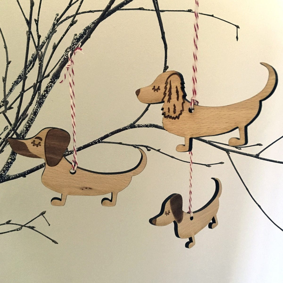 Dachshund Wooden Christmas Decoration  - Hoobynoo - Personalised Pet Tags and Gifts