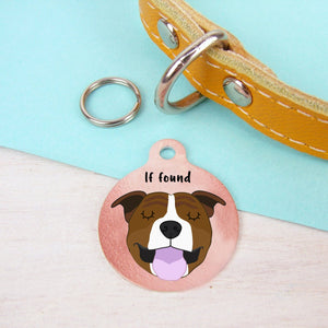 Personalised Staffordshire Bull Terrier Dog ID Tag - Copper  - Hoobynoo - Personalised Pet Tags and Gifts