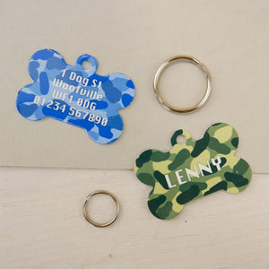 Camouflage Dog Name ID Tag Bone Shaped  - Hoobynoo - Personalised Pet Tags and Gifts