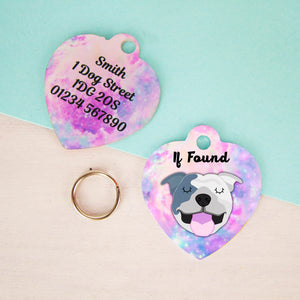 Personalised Staffordshire Bull Terrier Dog ID Tag - Universe Heart  - Hoobynoo - Personalised Pet Tags and Gifts