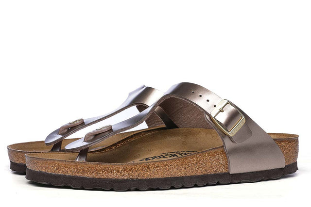 Birkenstock Gizeh Birko-Flor Electric Metallic Taupe Sandals