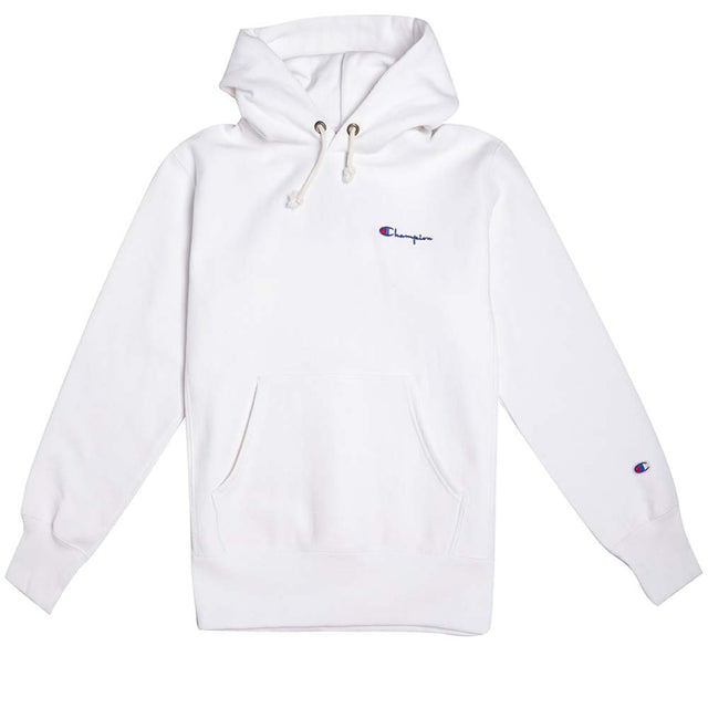 Champion Reverse Weave Small Script Logo White Hoody
