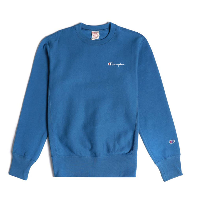 Champion Reverse Weave Rear Script Logo Crewneck Sweatshirt Blue