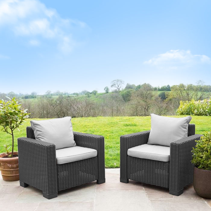 Poly Rattan Pair of Chairs - Graphite Grey