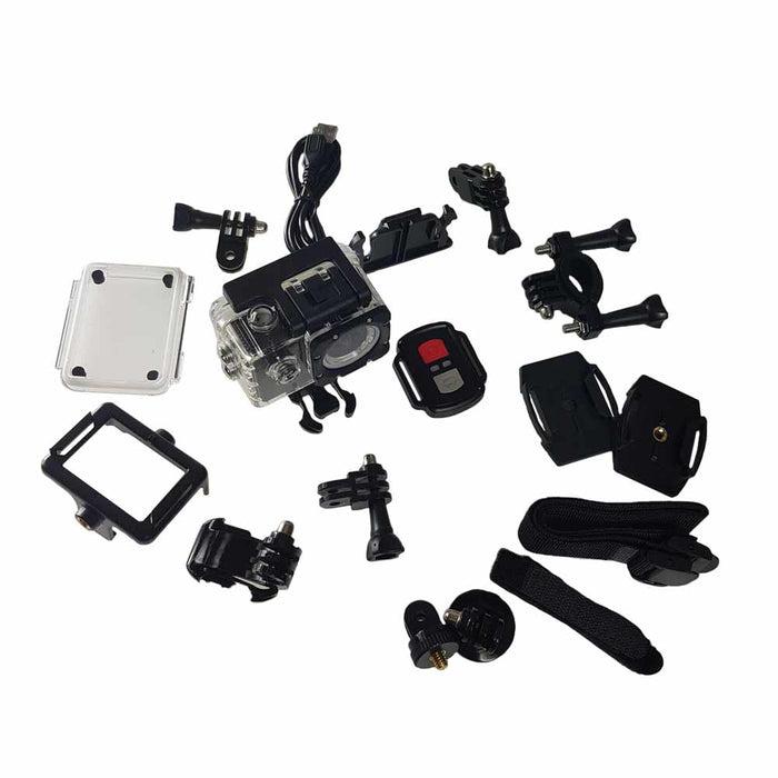 "Sports Cam HD, 4K Action Camera at 30fps 2.0"" Screen, Wi-Fi and Waterproof Case (30m) + 10 mountings and accessories"