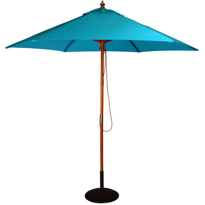 BrackenStyle York Round Picnic Table & Jade Blue Parasol - Seats 8