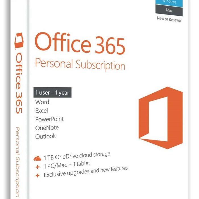 Microsoft Office 365 Personal Subscription - 1 Year - 1 User
