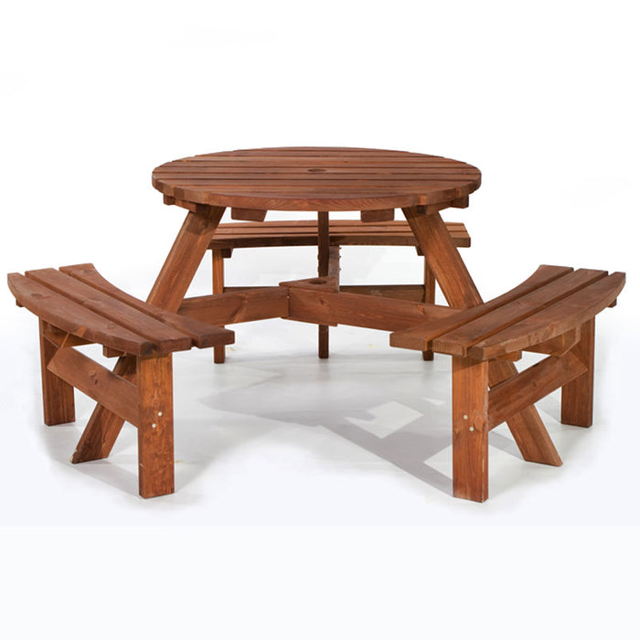 BrackenStyle Brentwood Brown Round Picnic Table - Seats 6