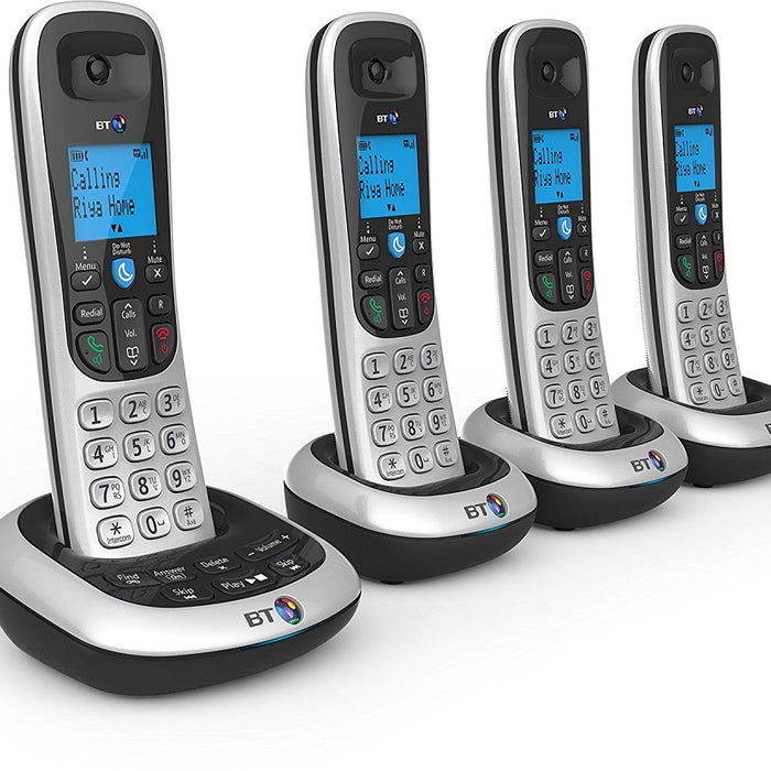 BT 2700 DECT Cordless Telephone Backlit Display Speaker Answering Machine Nuisance Call-Blocker Quad-Pack (Silver/Black)