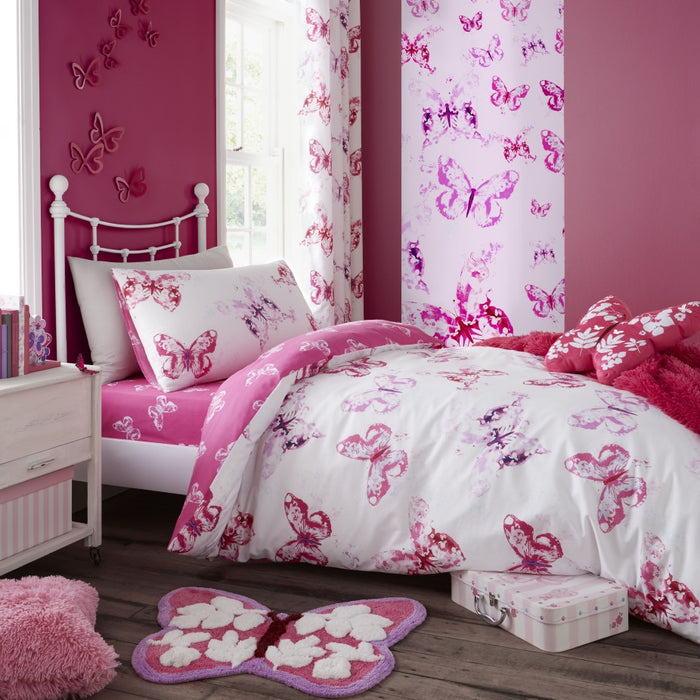 Catherine Lansfield Kids Butterfly Pink Duvet Cover Set