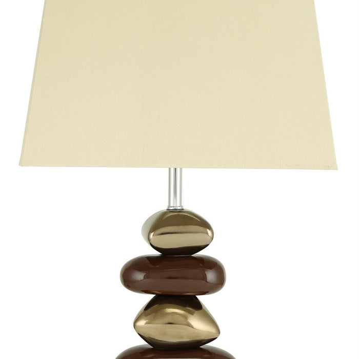 Pebble Chocolate & Bronze Table Lamp with Chocolate Shade
