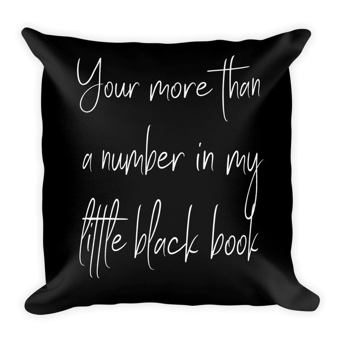 Your more than a number black cushion