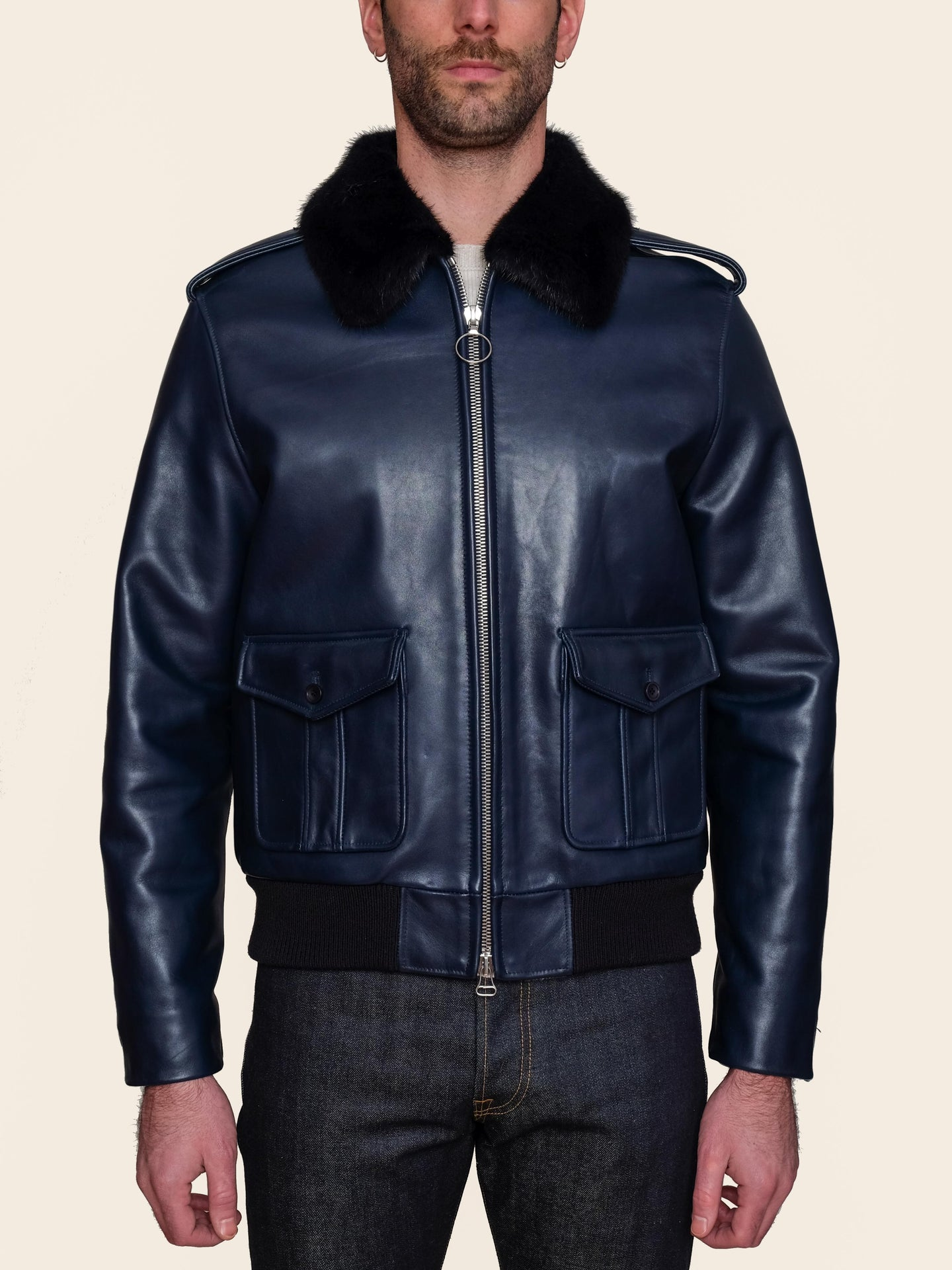Navy Leather Bomber with Mink Collar
