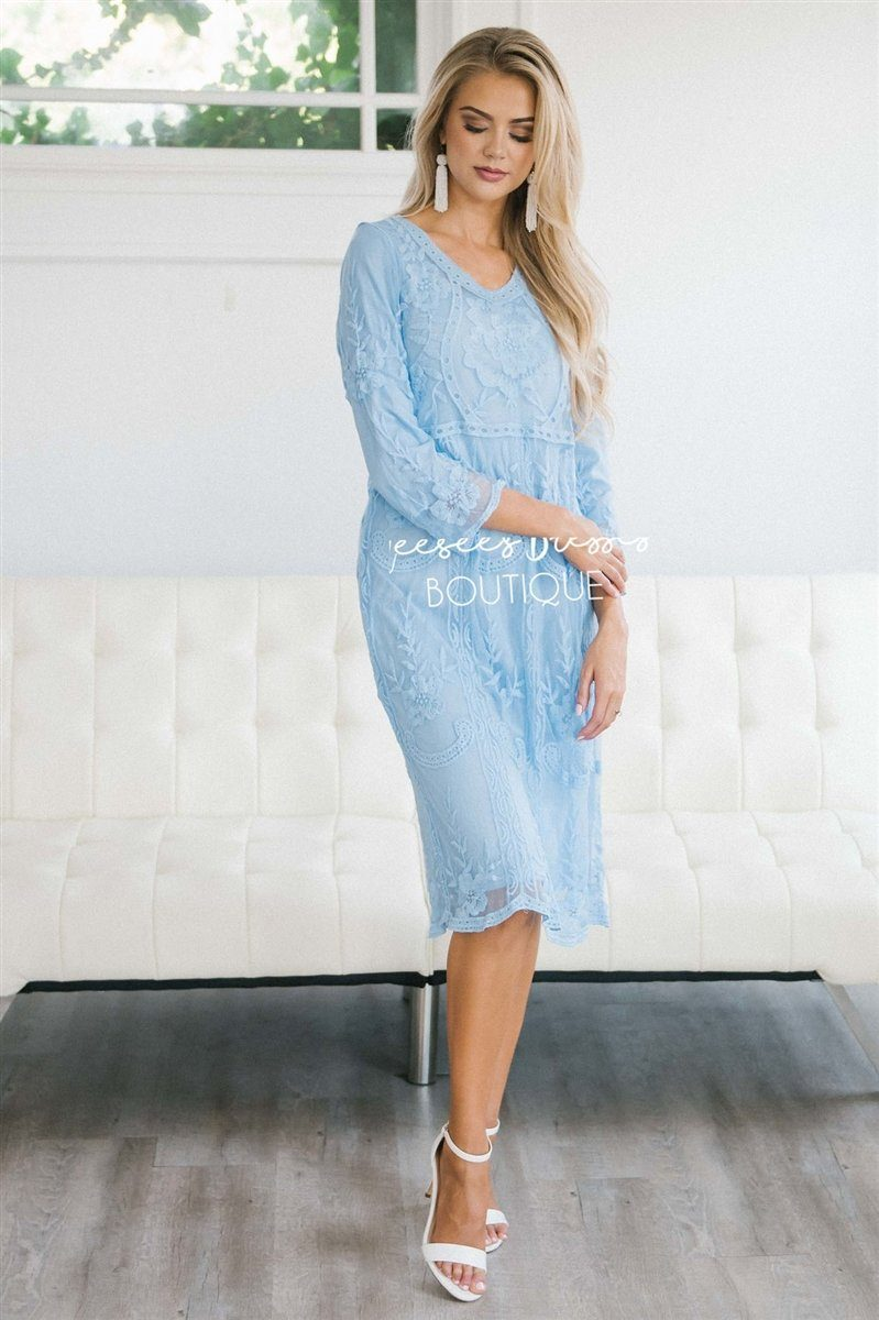Day Dreamer Lace Dress in Arctic Blue