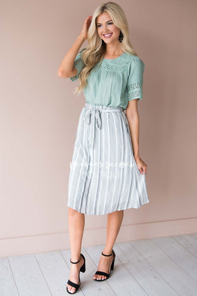 Striped Tie Front Skirt Modest Dresses vendor-unknown