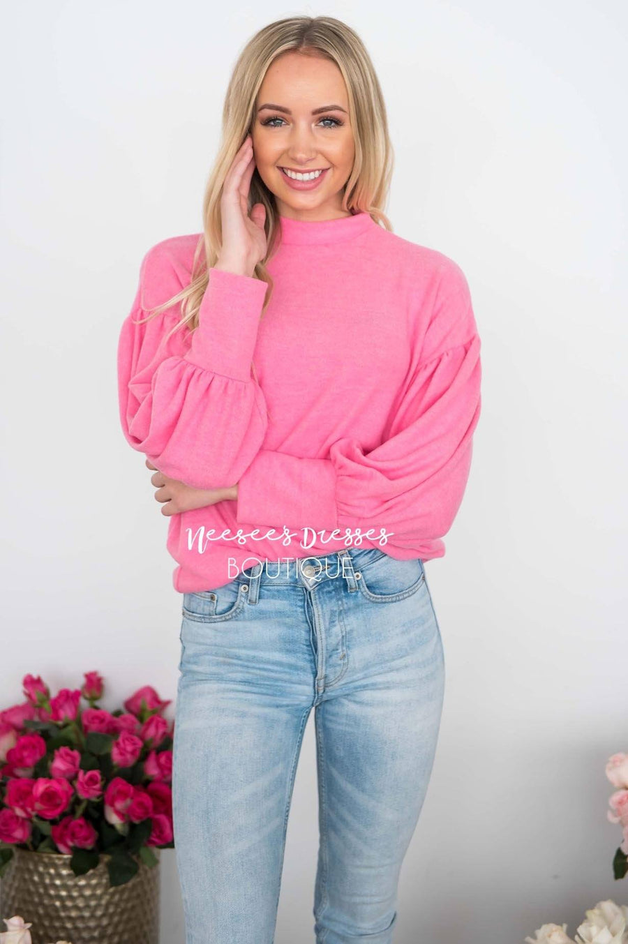 Hugs & Kisses Bubble Sleeve Sweater