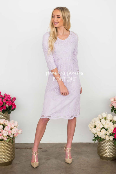 Day Dreamer Lace Dress in Lavender Modest Dresses vendor-unknown