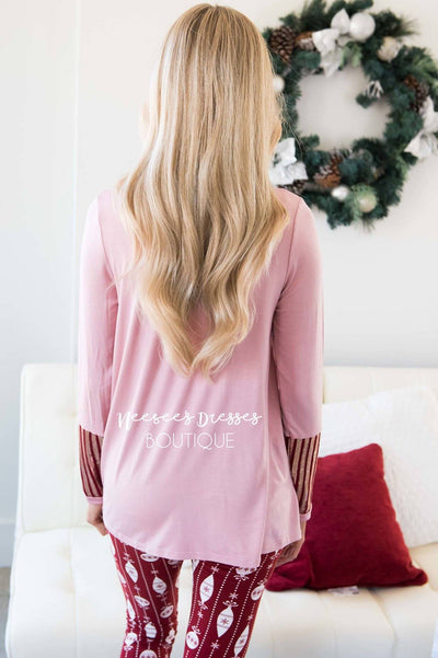 Sequin Striped Long Sleeve Top Tops vendor-unknown