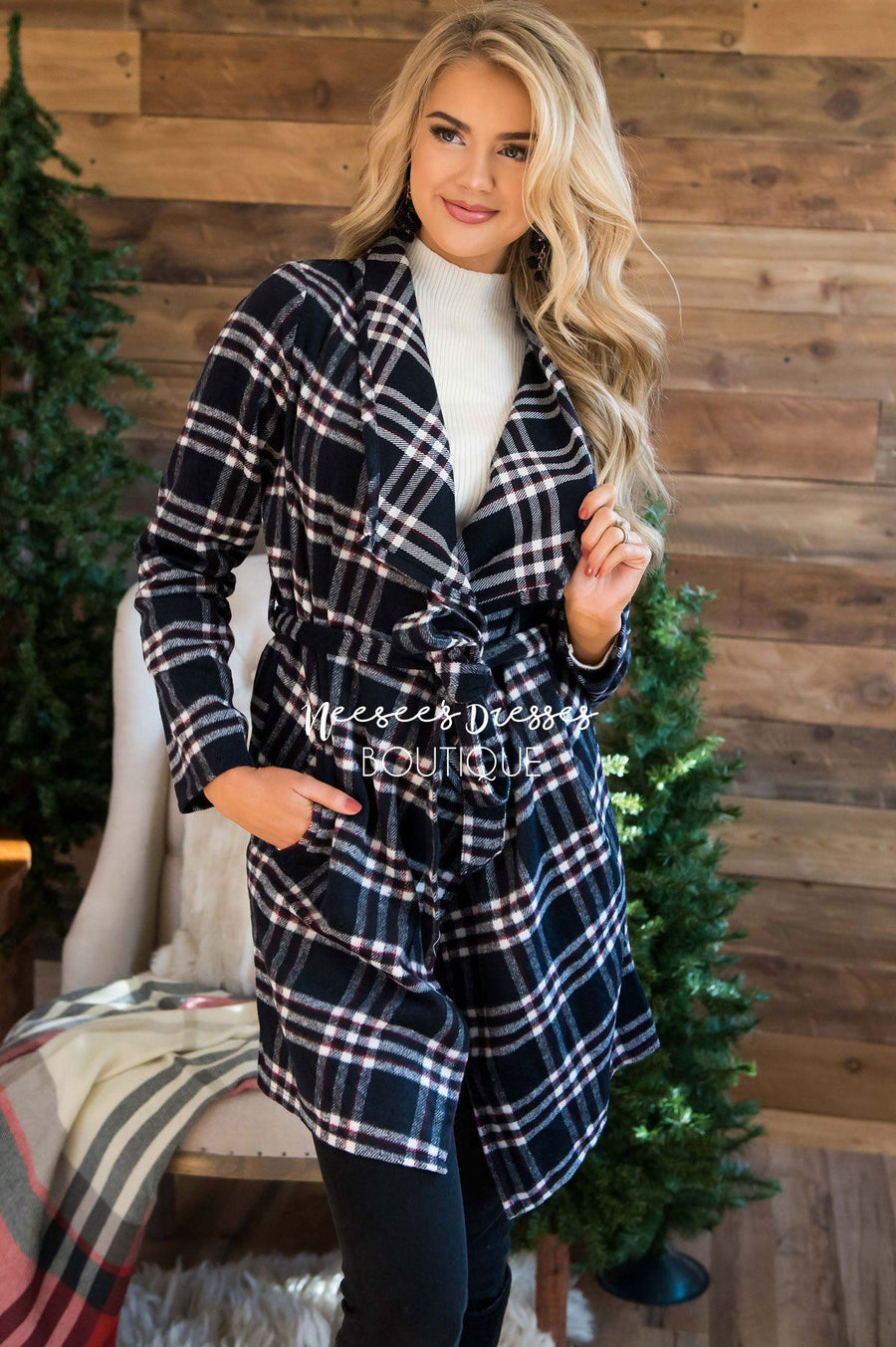 Beautiful Plaid Jacket with Waist Belt Tie