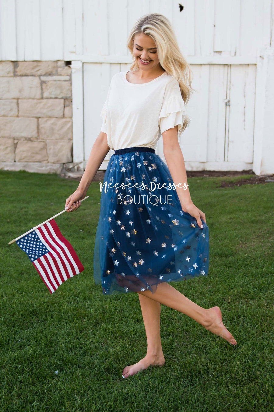 Shine Bright Sequin Star Tulle Skirt