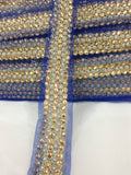 bridal appliques and trims bridal lace trim suppliers Blue Blue, Pearl, Gold Embroidery n stone n pearls Net Less than 2 inch