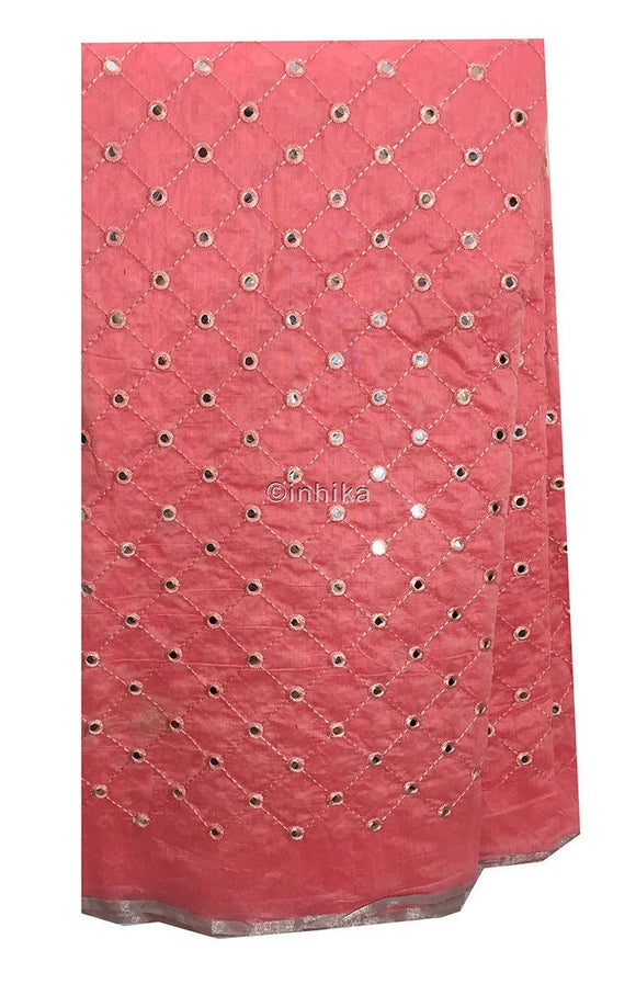 buy lace fabric online india dress materials online shopping Embroidery, Faux Mirror Cotton Chanderi Light Pink 42 inches Wide 9199