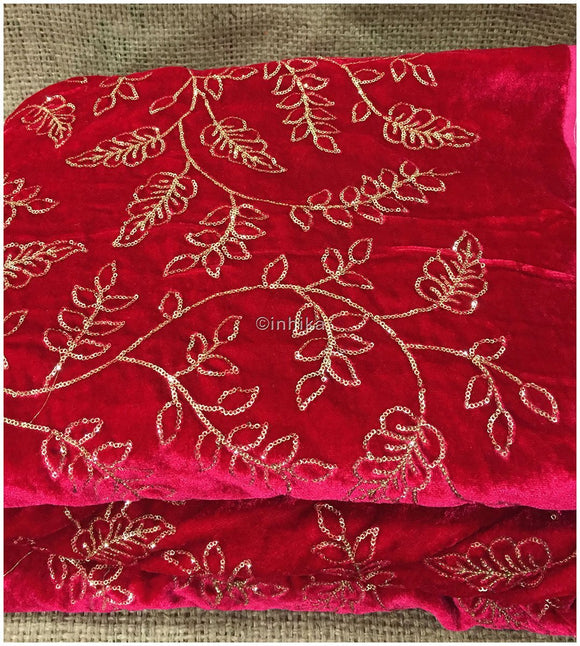 dress materials online shopping blouse material online Embroidery Velvet Rani Pink, Fuchia Pink, Gold 44 inches Wide 9194